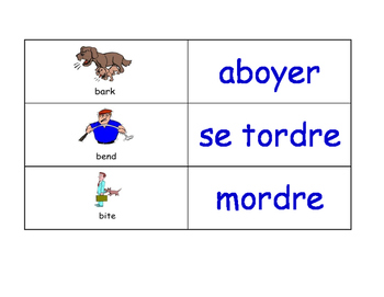 Verbs in French Flash Cards