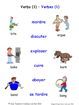 Verbs in French Matching Activities