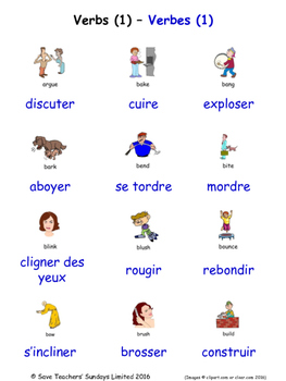Verbs in French Word searches / Wordsearches