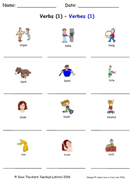 Verbs in French Worksheets