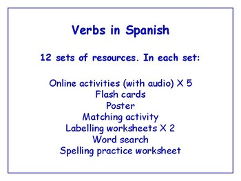 Verbs in Spanish Bundle - Worksheets, Activities & More (with audio)