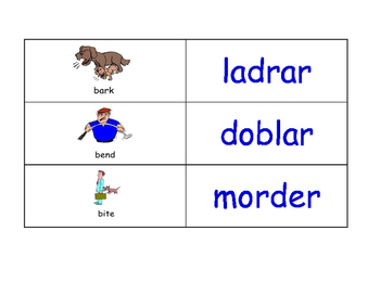 Verbs in Spanish Flash Cards