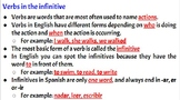 Verbs in the infinitive form