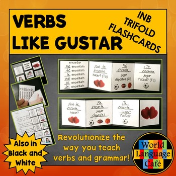 Verbs like Gustar Spanish Interactive Notebook Trifold Flashcards