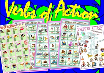 Verbs of Action //  Pictionary / Crossword puzzle / Multip