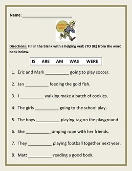 Verbs of BE - Fill-in-the-blank. (is, are, am, was, were)