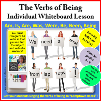 Verbs of Being Whiteboard Lesson and Homework