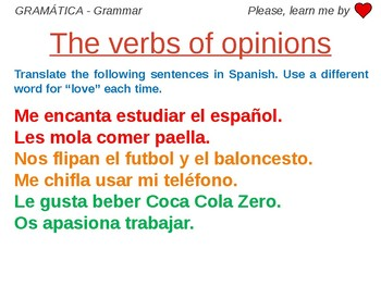 Verbs of Opinion - Grammar Work Spanish