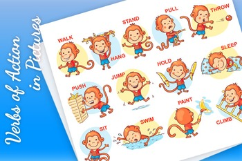 Verbs of action in pictures, cute monkey character.