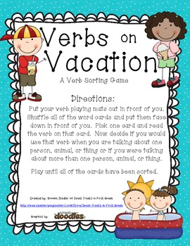 Verbs on Vacation - A Verb Sorting Gmae