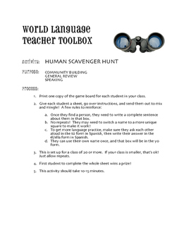 Spanish Verbs that Carry Prepositions Human Scavenger Hunt