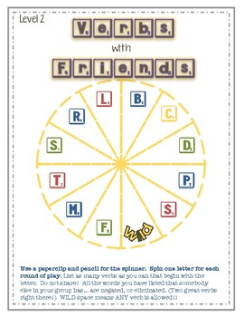 Vocabulary Games: VERBS with FRIENDS, Adverb-i-gories..Fun with Parts of Speech!