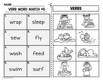 Verbs with Visual Support | Verbs Cut and Paste Worksheets