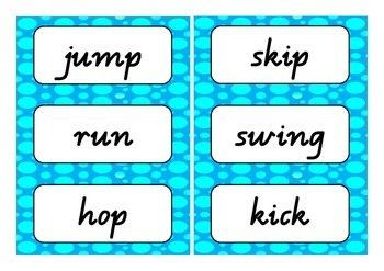 Verbs word wall (action, linking, saying & thinking verbs)