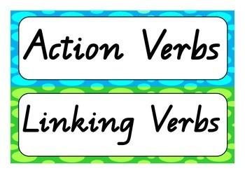 Verbs word wall (action, linking, saying & thinking verbs)