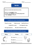 Verbs worksheet by a British teacher for new to English learners.
