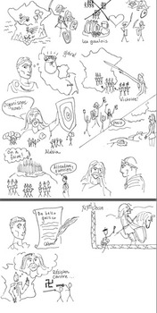 Vercingetorix and Julius Caesar French history illustratio