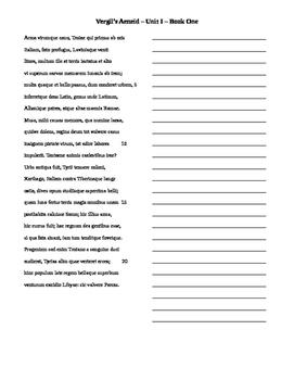 Vergil Unit 1 Translation Sheets