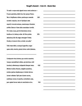 Vergil Unit 2 Translation Sheets