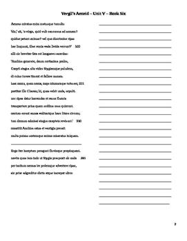 Vergil Unit 5 Translation Sheets