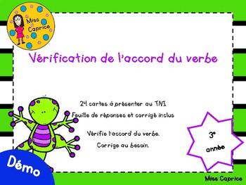 Vérification de l'accord du verbe - 3e année