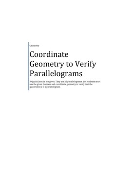 Verify Parallelograms in the Coordinate Plane