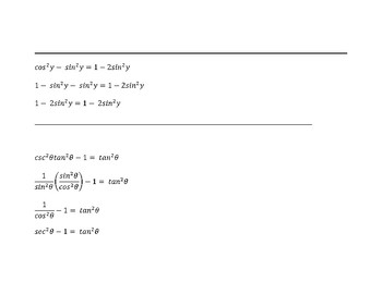 Verify Trig Identities - cut out strips