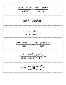 Verifying Fundamental Trigonometric Identities Matching / Cut & Paste Activity