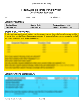 Verifying Health Insurance Benefits (Customizable Forms)