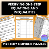 Verifying One Step Equations and Inequalities Mystery Number Puzzles
