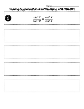 Verifying Trigonometric Identities w/ SOHCAHTOA Matching / Cut & Paste Activity