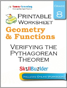 Verifying the Pythagorean Theorem Printable Worksheet, Grade 8