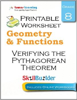 Verifying the Pythagorean Theorem Printable Worksheet, Grade 8