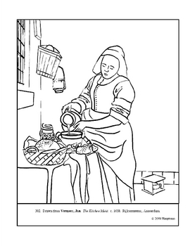 Vermeer. The Kitchen Maid. Coloring page and lesson plan ideas