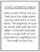 Vermont State Acrostic Poem Template, Project, Activity, Worksheet