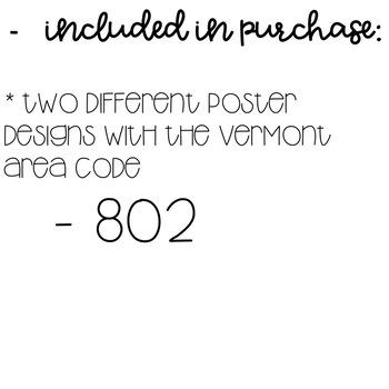 Vermont Area Code Decor Posters