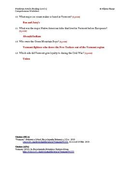 Vermont Article (Reading Level 1) Comprehension Worksheet