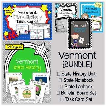 Vermont Bundle. History Unit. Bulletin Board. Notebook. Lapbook. Task Cards