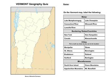 Vermont Geography Quiz