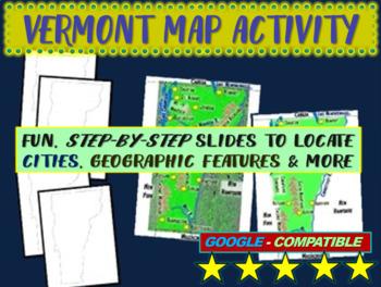 Vermont Map Activity- fun, engaging, follow-along 20-slide PPT