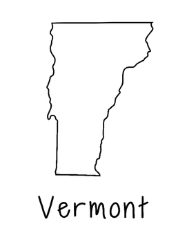 Vermont Map Coloring Page Craft - Lots of Room for Note-Taking & Creativity