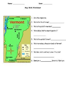 Vermont Map Skills Worksheet