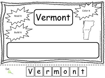 Vermont Read it, Build it, Color it Learn the States preschool worksheet.