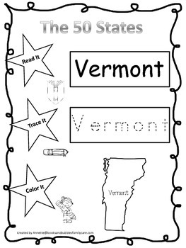 Vermont Read it, Trace it, Color it Learn the States preschool worksheeet