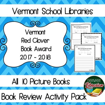 Vermont School Library 2017 - 2018 Red Clover Award Book Review Lessons NO PREP