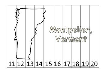 Vermont State Capitol Number Sequence Puzzle 11-20.  Geography and Numbers.