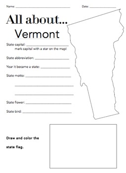 Vermont State Facts Worksheet: Elementary Version