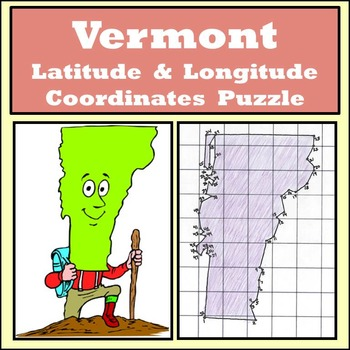 Vermont State Latitude and Longitude Coordinates Puzzle - 52 Points to Plot