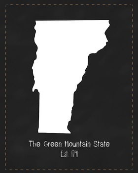 Vermont State Map Class Decor, Government, Geography, Black and White Design