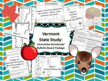 Vermont State Study: Interactive Notebook Inserts & Bulletin Board Display